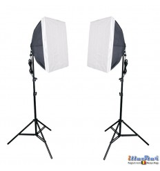 SETFL8SB - Studiokit (1440W 23040 lm) 2x lamp with softbox 50*70cm, 8x 36W Daylight fluorecent lamp, 2x light stand 190cm