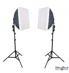 SET-FL8-SB - Studiokit (1440W 23040 lm) 2x lamp with softbox 50*70cm, 8x 36W Daylight fluorecent lamp, 2x light stand 190cm