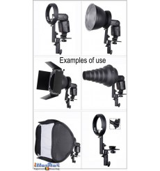 SLBCNEL - Support flash cobra type L avec sabot flash  (Canon/Nikon) pour baïonnette Elinchrom - illuStar