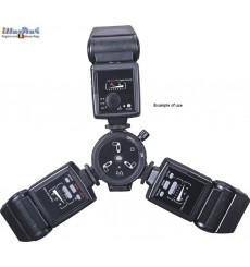 FLH-13 - Triple Hot-shoe holder for mounting 3 speedlites on stand, umbrella holder, 3.5mm sync connection