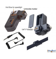 RTU16-HR - Extra receiver - 2.4 Ghz 16-channels - with hot-shoe, umbrella holder, 6.35mm synchro jack, 3.5mm adapter