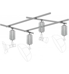 MKIT44 - Ceiling rail system KIT 4m*4m (4x rail 4m, 4x pantograph with rail carriage) - elfo