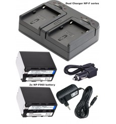 BATK2F960 - 2x NP-F960 Li-ion batteries 7200mAh + Dual battery charger with car adapter 12V and power adapter 220V