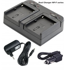 BATK2F750 - 2x NP-F750 Li-ion batteries 4400mAh + Dual battery charger with car adapter 12V and power adapter 220V
