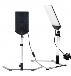 LEDBGKIT - Mini Studio SET with 2x 22W LED panels, background support, 6 sheets of colored background paper