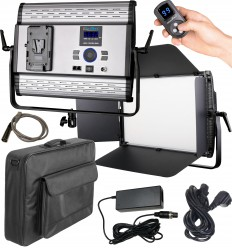 LEDP120PRODMX - LED Video & Photo Studio Lighting 120W + 120W Bi-Color, DMX-512, V-Mount Battery slot, DC 13V-19V - illuStar