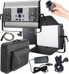 LEDP150PRODMX - Eclairage LED de studio Video & Photo 150W + 150W Bi-Couleur, DMX-512, Support de bat. 2x V-Mount, DC 36V - illuStar