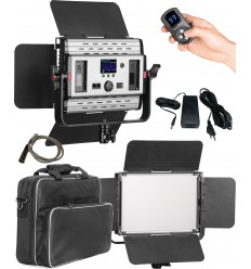 LEDP60PRODMX - Eclairage LED de studio Video & Photo 60W + 60W Bi-Couleur, DMX-512, Support de bat. 2x NP-F750/960, DC 13V-19V - illuStar