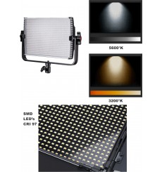 LEDP60PRODMX - Eclairage LED de studio Video & Photo 60W + 60W Bi-Couleur, DMX-512, Support de bat. 2x NP-F750/960, DC 13V-19V