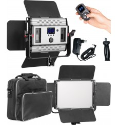 LEDP36PRO - Eclairage LED de studio Video & Photo 36W + 36W Bi-Couleur, Support de batteries 2x NP-F750/960, DC 13V-19V - illuStar