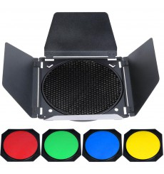 BD18 - Barndoor including 4 colour filters & honeycomb – fits on reflectors of ø18cm - illuStar