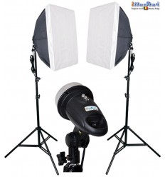 SET FM120 - 2x FM-120 adjustable 120/60Ws, 34 leds modelling lamp, 2x stands 180cm, 2x Softbox 50x50cm - illuStar