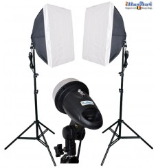 SET-FM-120 - 2x FM-120 adjustable 120/60Ws, 34 leds modelling lamp, 2x stands 180cm, 2x Softbox 50x50cm