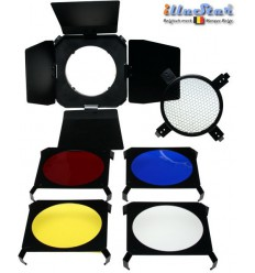 BDSMD - Barndoor for studio flash SMD-serie & Mini ø98~82mm - including 4 colour filters & honeycomb