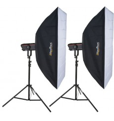 Kit Flash de Studio Photo - 2x FX-1200-PRO 1200 Ws Affichage numériqe, 2x trépied 250cm, 2x softbox 80x120cm - elfo