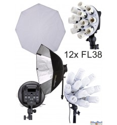 CL12FLSBO - Studio Lamp (2280W) with 12x 38W fluorecent E27 lamps, Softbox octogonal ø80 cm, 4 step power control