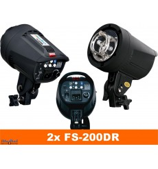 SET FS 200DR - 2x FS-200DR digital and stepless 200~6 Ws, 100W halogen, 2x stands 195cm, 2x Softbox 50x70cm, 1x RT-604T - illuStar