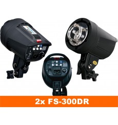 SET FS-300DR - 2x FS-300DR digital and stepless 300~9 Ws, 100W halogen, 2x stands 195cm, 2x Softbox 50x70cm, 1x RT-604T - illuStar