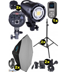SETLEDB500 - 2x LEDB-500 50W LED Studio lamp, Digital, 2x stands 195cm, 2x Softbox octogonal ø80cm, 1x WR-L99 - illuStar