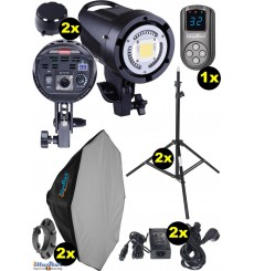 SET-LEDB-500 - 2x LEDB-500 50W LED Studio lamp, Digital, 2x stands 195cm, 2x Softbox octogonal ø80cm, 1x WR-L99