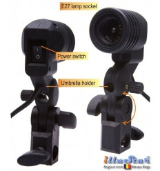LH27U - Swivel Lamp Holder with umbrella holder for use with E27 lamp or slave flash - illuStar