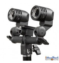 LH-D27U - Universal Dual lamp socket for two E27 lamps / slave flash - (swivel & tilt) with umbrella holder