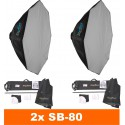 SET-LEDB-1000 - 2x LEDB-1000 100W LED Studio lamp, Digital, 2x stands 195cm, 2x Softbox octogonal ø80cm, 1x WR-L99