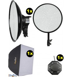 SET-LEDM-1144 - 75W LED Video & Foto Studioverlichting, 5400°K, 9000 lm, Traploze lichtregeling, Softbox, Afstandsbediening - illuStar