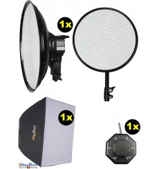 SET-LEDM-1144 - 75W LED Video & Foto Studioverlichting, 5400°K, 9000 lm, Traploze lichtregeling 10~100%, DC 12~19V