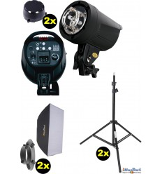 SET-FS-200D - 2x FS-200D digital and stepless 200~6 Ws, 100W halogen, 2x stands 195cm, 2x Softbox 50x70cm