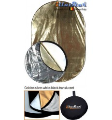 RRK120180 - 120×180cm 5in1 oval collapsible reflector, (White / Black / Gold / Silver / White Translucent) - illuStar