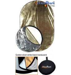 RRK-120180 - 120×180cm 5in1 oval collapsible reflector, (White / Black / Gold / Silver / White Translucent)