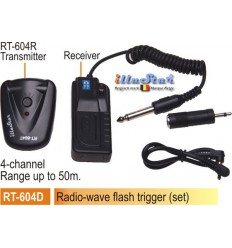 RT604D - Radio wave Flash Trigger set - Receiver (2xAAA 1.5V battery not included)  + Transmitter - 4-channels