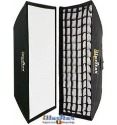 SB35160HCA144 - Softbox 2in1 - 35x160cm with Diffuser & Honeycomb Grid - 360° rotating - foldable - carry bag - illuStar