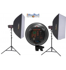 SET-FI-500D - 2x FI-500D digital and stepless 500~15 Ws (Joule) E27 250W halogen, 2x stands 250cm, 2x Softbox 80x120cm
