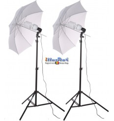 SET-FLT2-105 - Studio Kit (16800 lm) 2x 105W Daylight Fluorecent lamp, 2x light stand 190cm, 2x Umbrella Transparent ø84cm