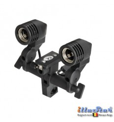 LHD27U - Universal Dual lamp socket for two E27 lamps / slave flash - (swivel & tilt) with umbrella holder
