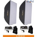 SET-FI-800D - 2x FI-800D digital and stepless 800~25 Ws (Joule) E27 250W halogen, 2x stands 250cm, 2x Softbox 80x120cm